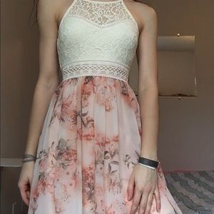 White lace and floral formal dress